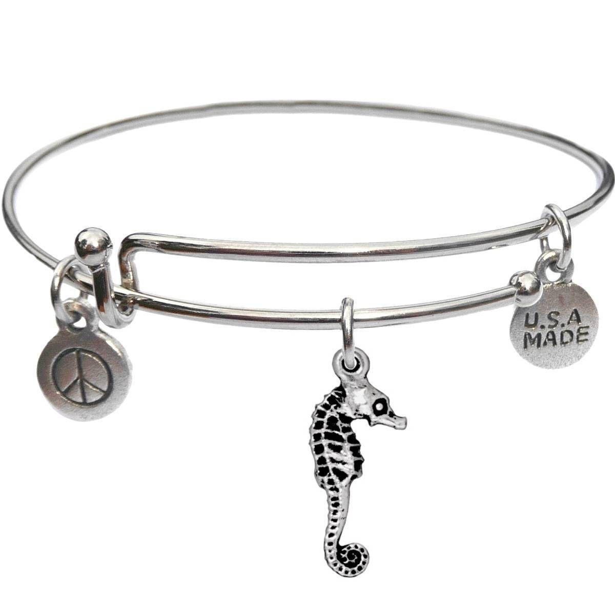 Bangle Bracelet and Seahorse - USA Made - BBandJT167