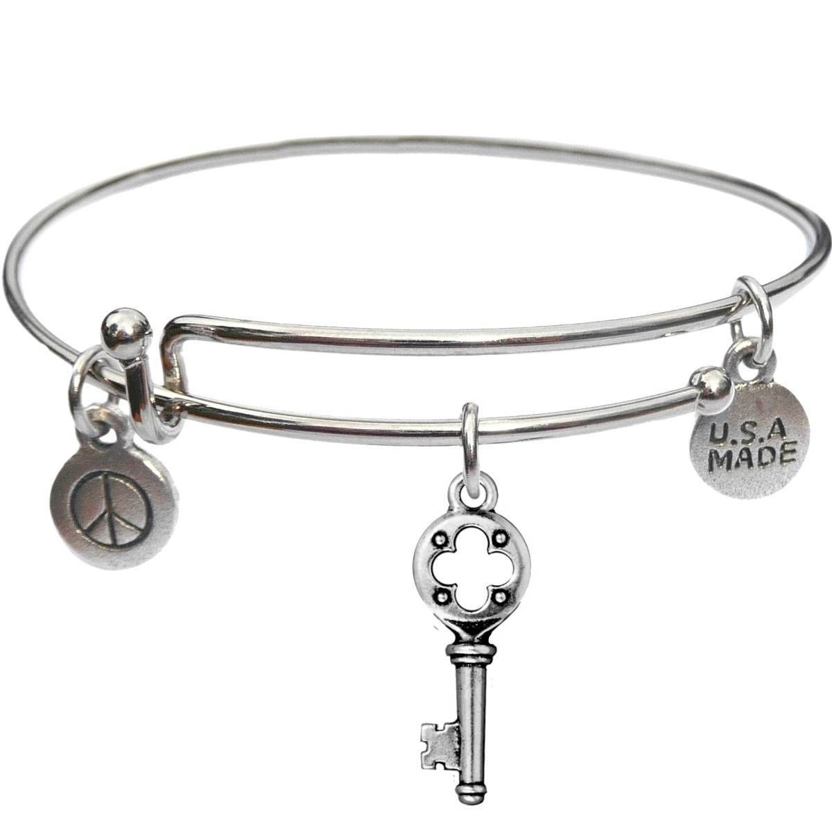 Bangle Bracelet and Quaterfoil Key - USA Made - BBandJT182