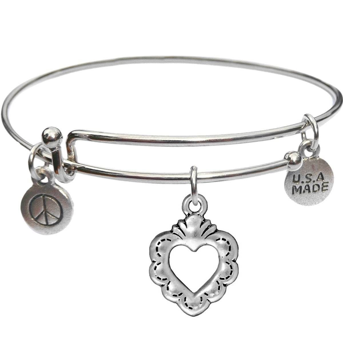 Bangle Bracelet and Open Heart - USA Made - BBandJT157