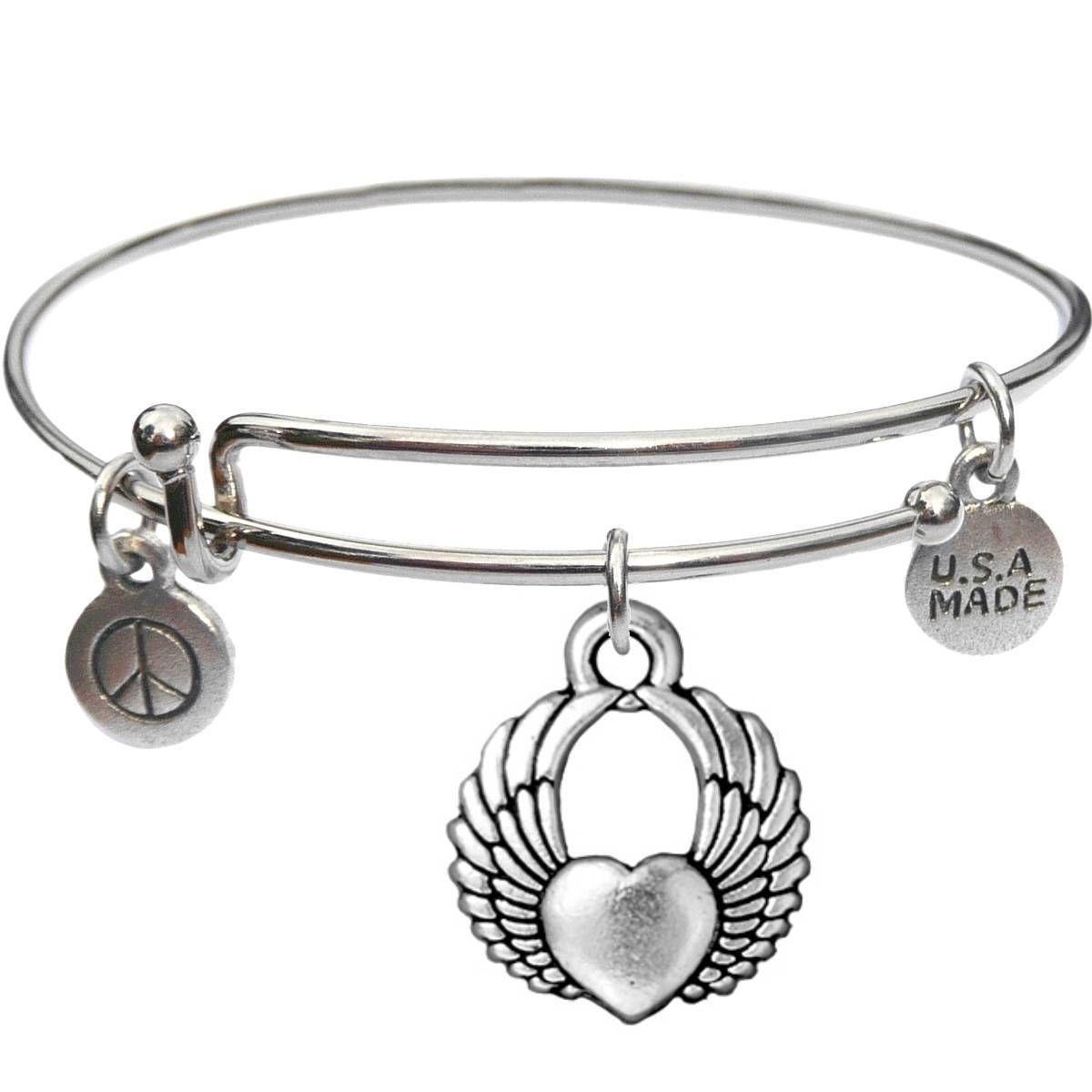Bangle Bracelet and Winged Heart - USA Made - BBandJT159