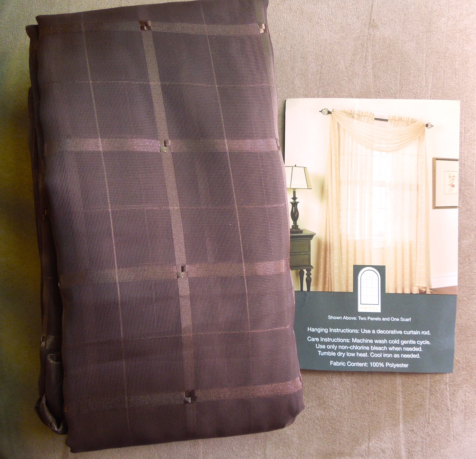 19  fortune sheer scarf valance    chocolate tone on tone plaid  poly wash china 73132040018  731320400301 jcp 7 27 12 4.90 x7  5332