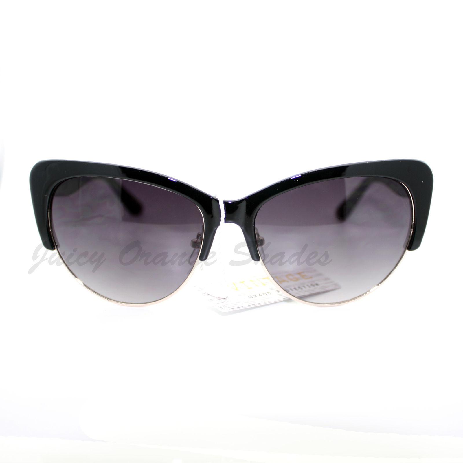 Womens Fashion Sunglasses Retro Plastic Top Oval Cateye Frame