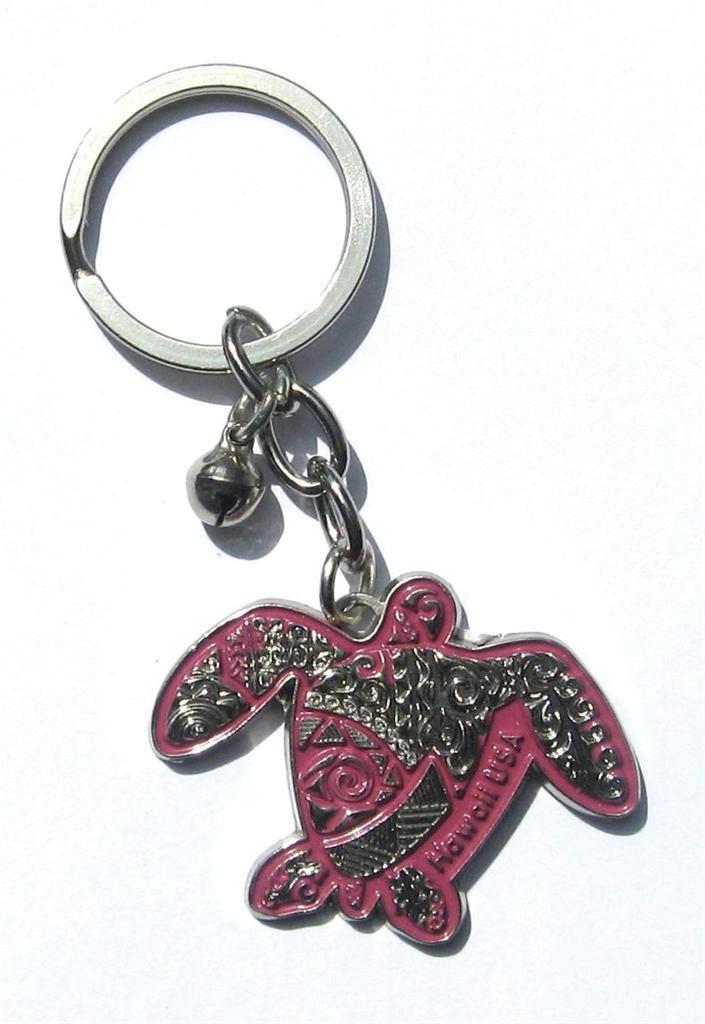 Pink and Silver Color Hawaii Honu Sea Turtle Key Chain Base Metal