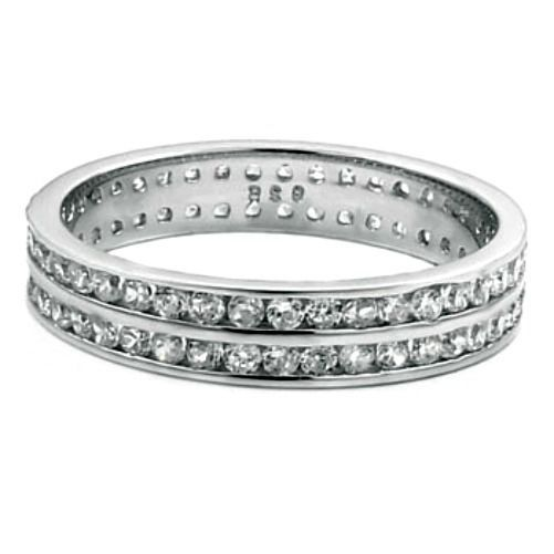 Sterling Silver ring size 4 CZ Round cut Wedding Band Eternity Engagement v82