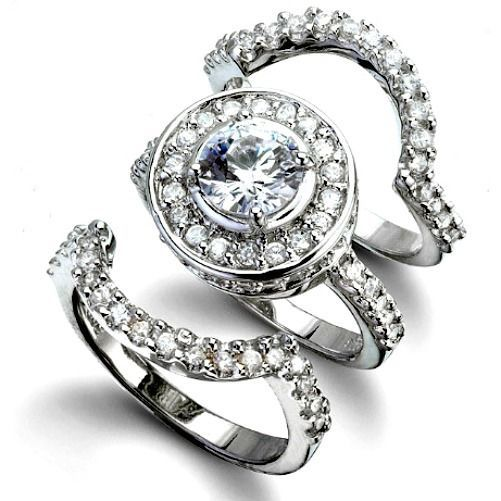 Sterling Silver Wedding set size 8 CZ Round cut Engagement Ring Halo Bridal w01
