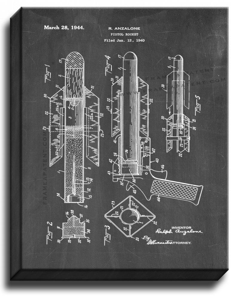 Primary image for Pistol Rocket Patent Print Chalkboard on Canvas