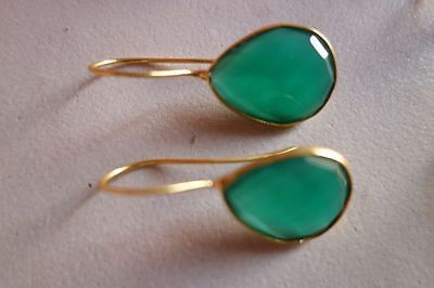 NATURAL GREEN ONYX PEAR SHAPE 16X19MM GOLD PLATED READY TO WEAR EARRING#AG4371