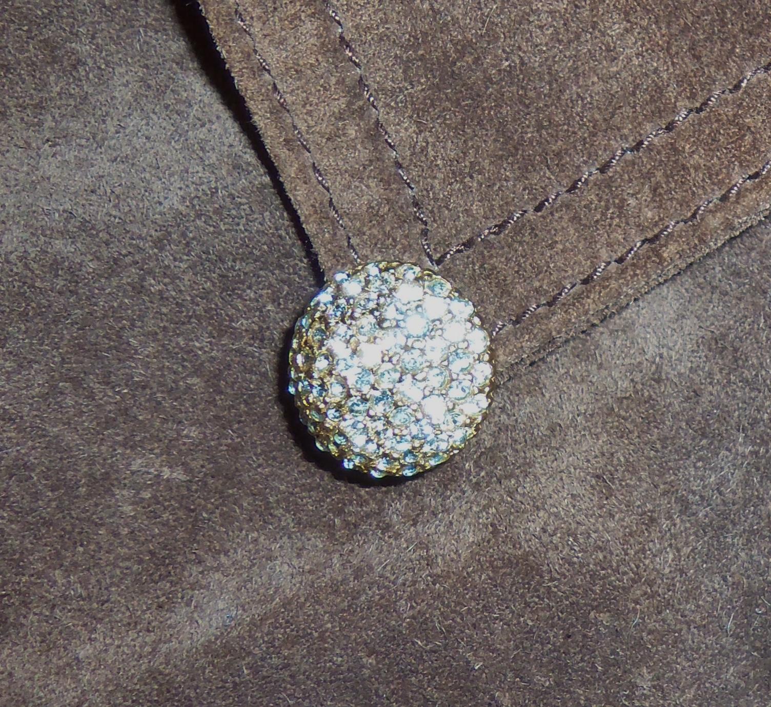 Les Bernard Pave Cl. Rhinestone Button Huggie Gold Tone Clip Earrings Pat 156452