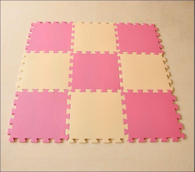 EVA Foam Cream & Pink Rug Kid Puzzle Play Mat Baby Crawling Mats 30X30X1cm