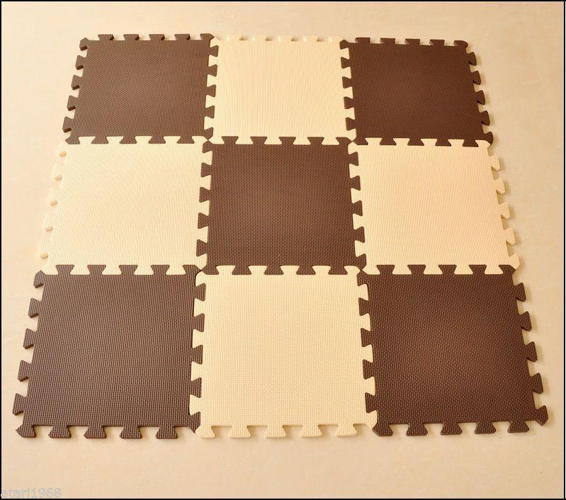 EVA Foam Cream & Coffee Rug Kid Puzzle Play Mat Baby Crawling Mats 30X30X1cm
