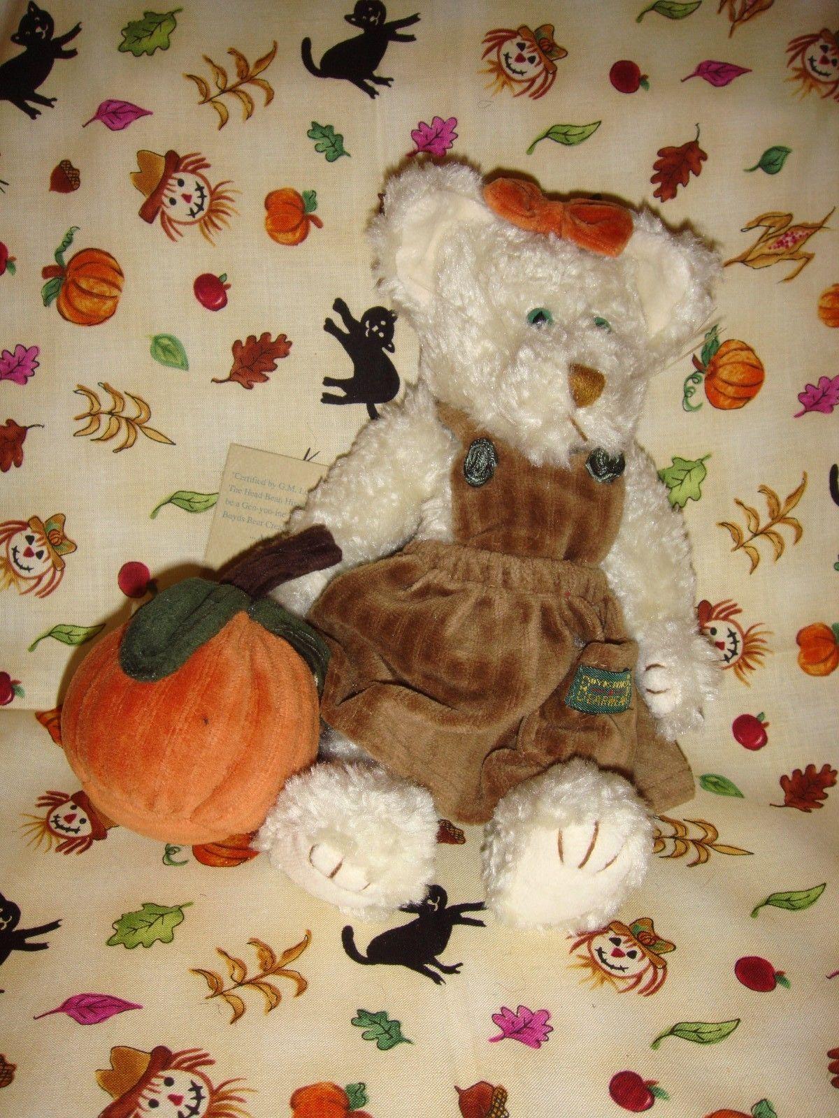 Boyds Bears Felina B Catterwall Cat With Pumpkin Halloween