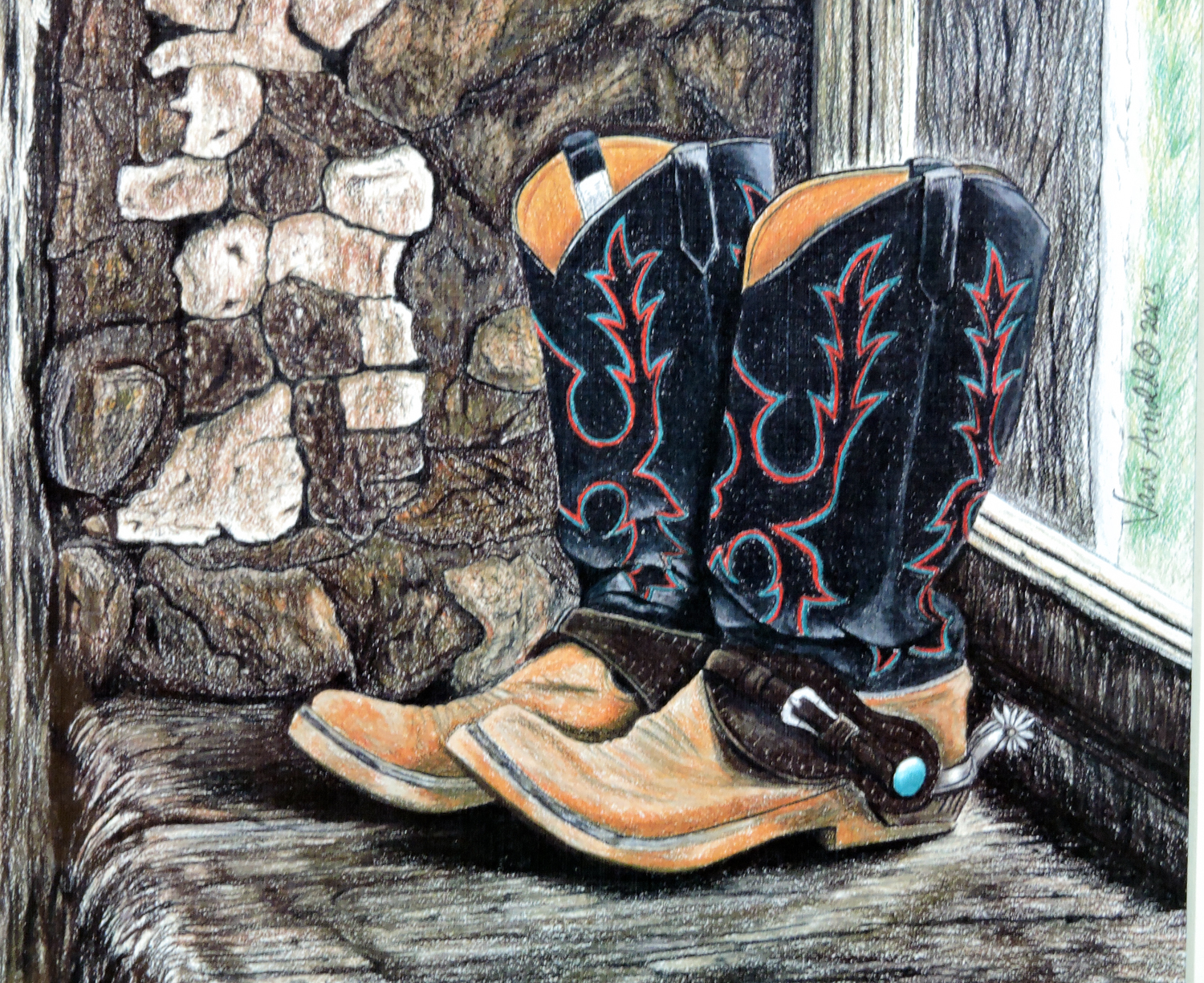 "Signed 11X14 Color Pencil Sketch Print, Local Artist Vana Arnold, ""Done Walkin'"""