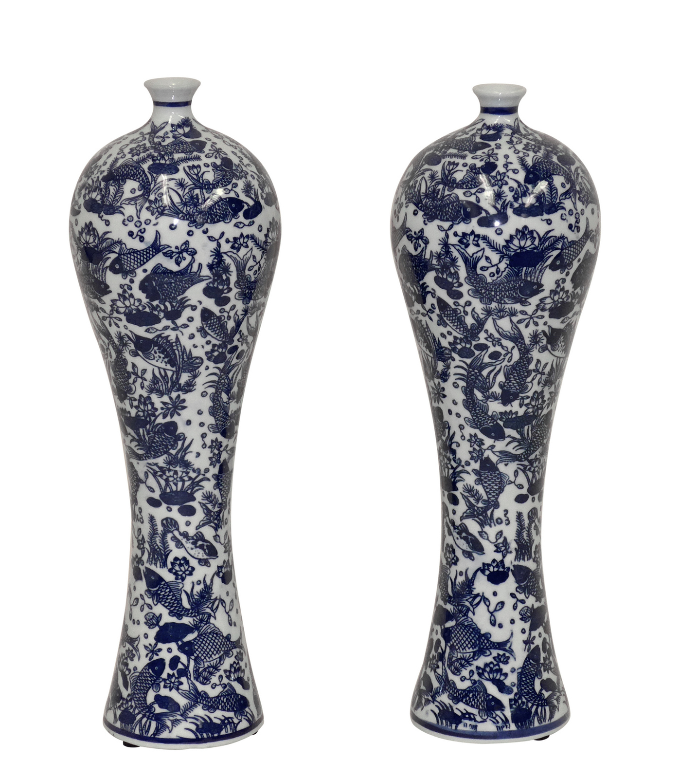 Pair of Blue & White Mei Ping Porcelain Vases,13'' tall.