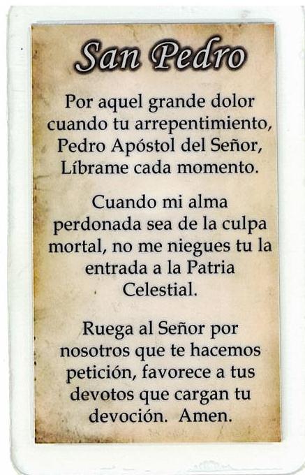 Laminated Prayer Card - San Pedro - L300.0063