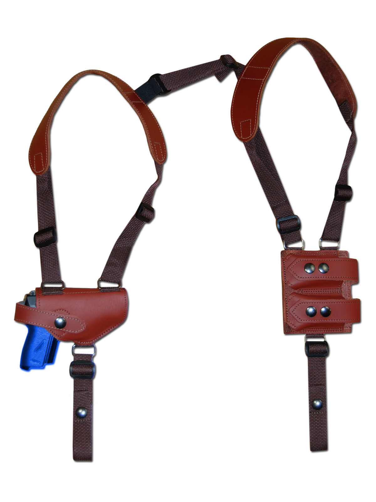NEW Burgundy Leather Shoulder Holster w/Dbl Mag Pouch Beretta Taurus Mini-Pocket