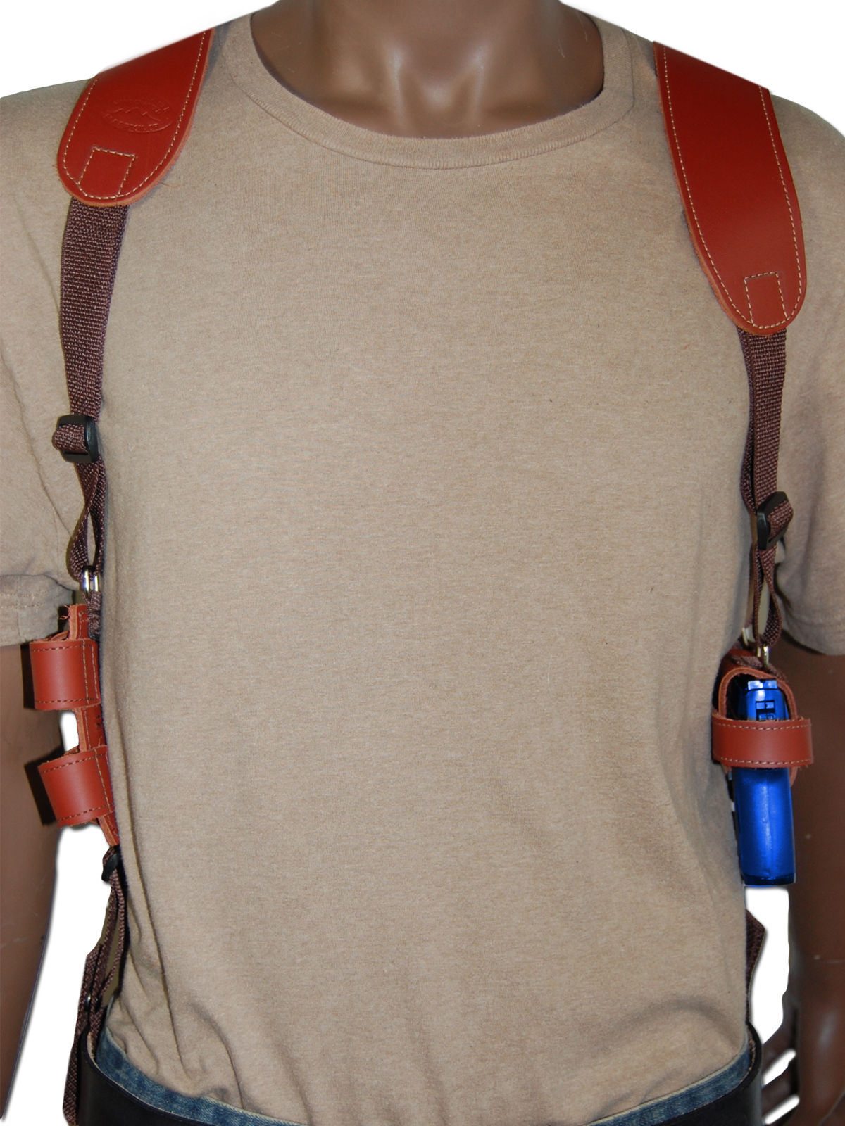 NEW Burgundy Leather Shoulder Holster w/Dbl Mag Pouch Raven Jennings Mini-Pocket