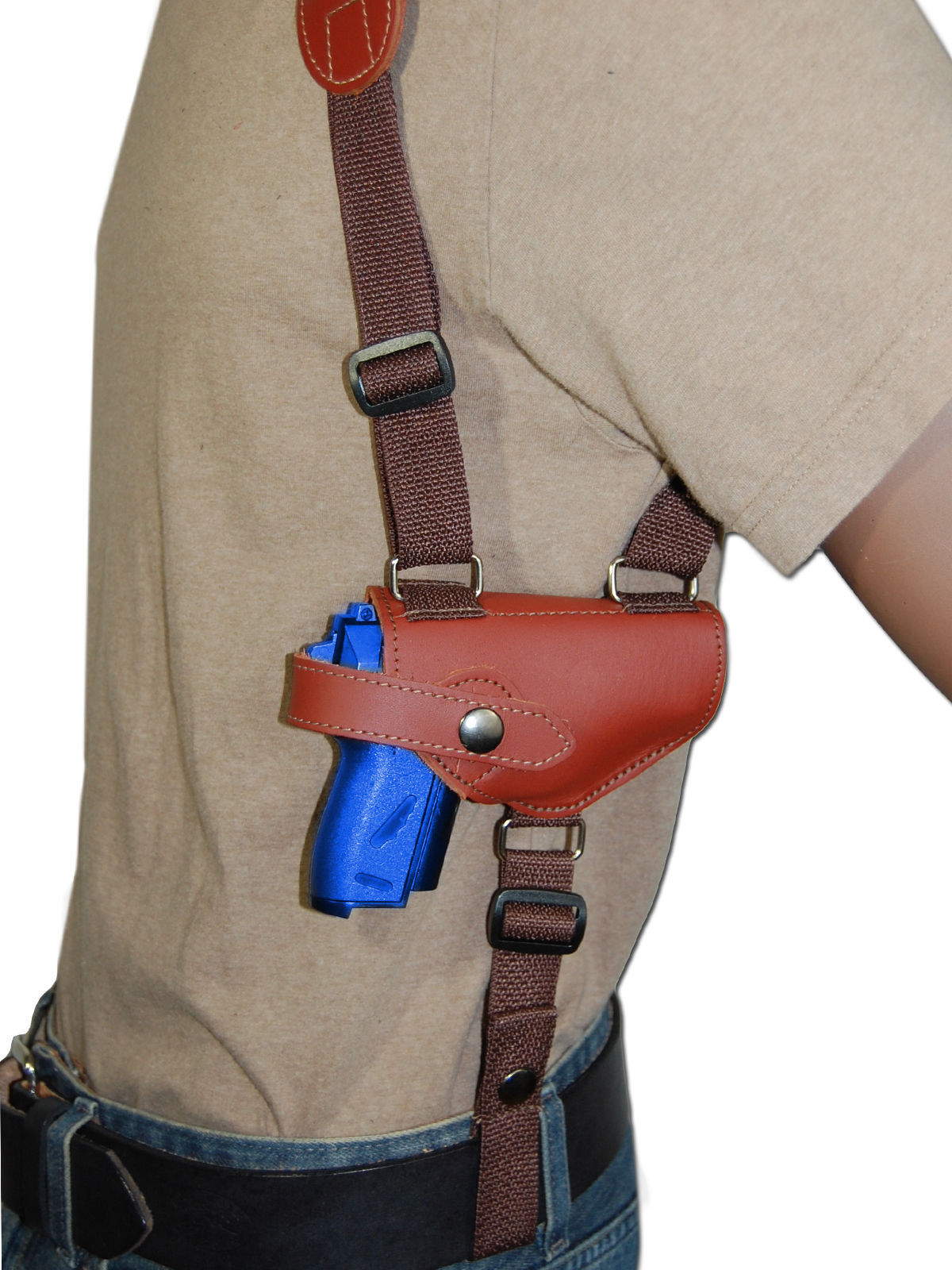 NEW Burgundy Leather Shoulder Holster w/Dbl Mag Pouch Llama, NA Arms Mini-Pocket