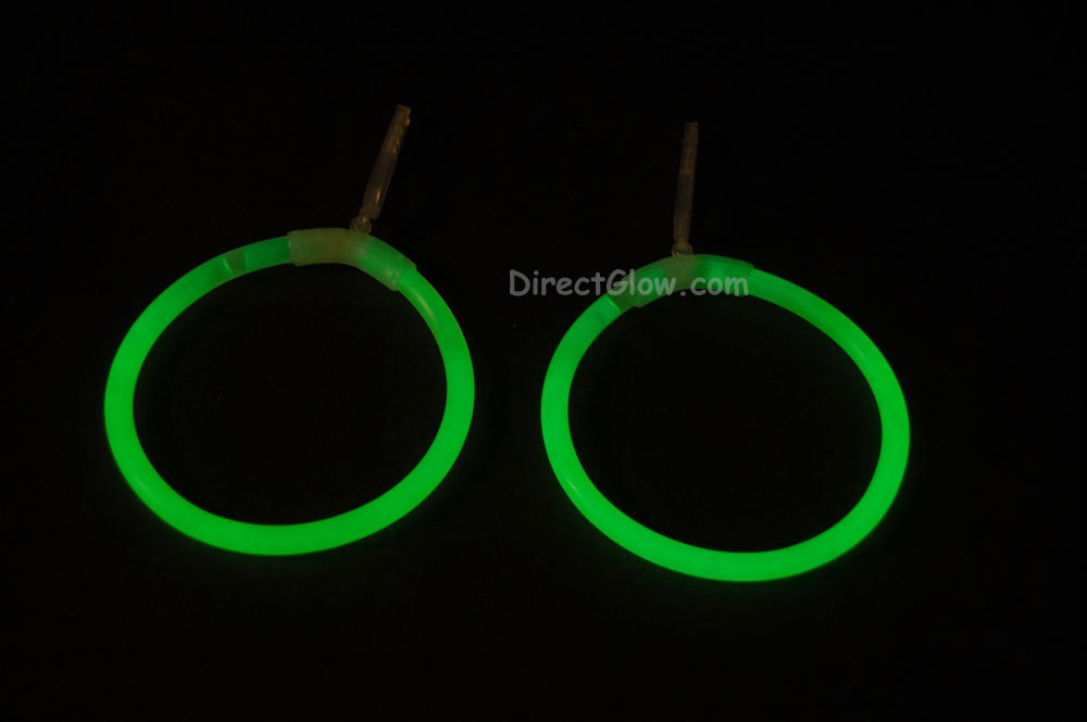 Green Glow Stick Clip On Hoop Earrings and Bracelets- 25 Pairs