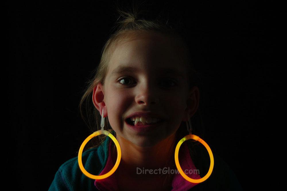 Glow orange hoop earrings1