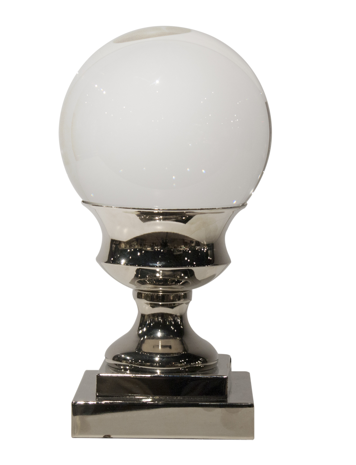 Set of Two Crystal Ball with Nickel Pedestals,5.5''d x 11'' tall.