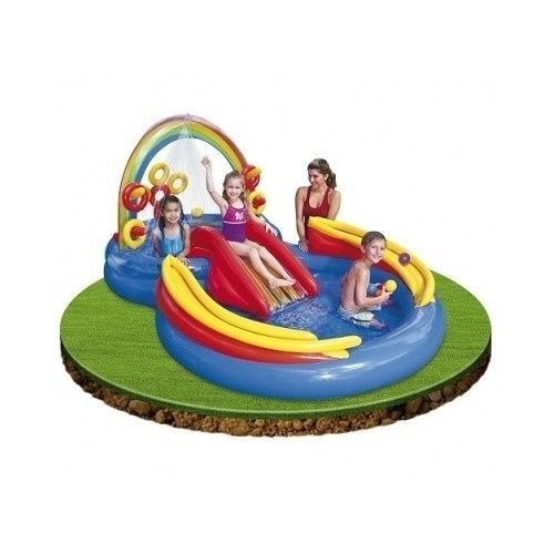 Inflatable Swimming Pool Water Slide Ring Toss Kids Party Backyard Ball Game New