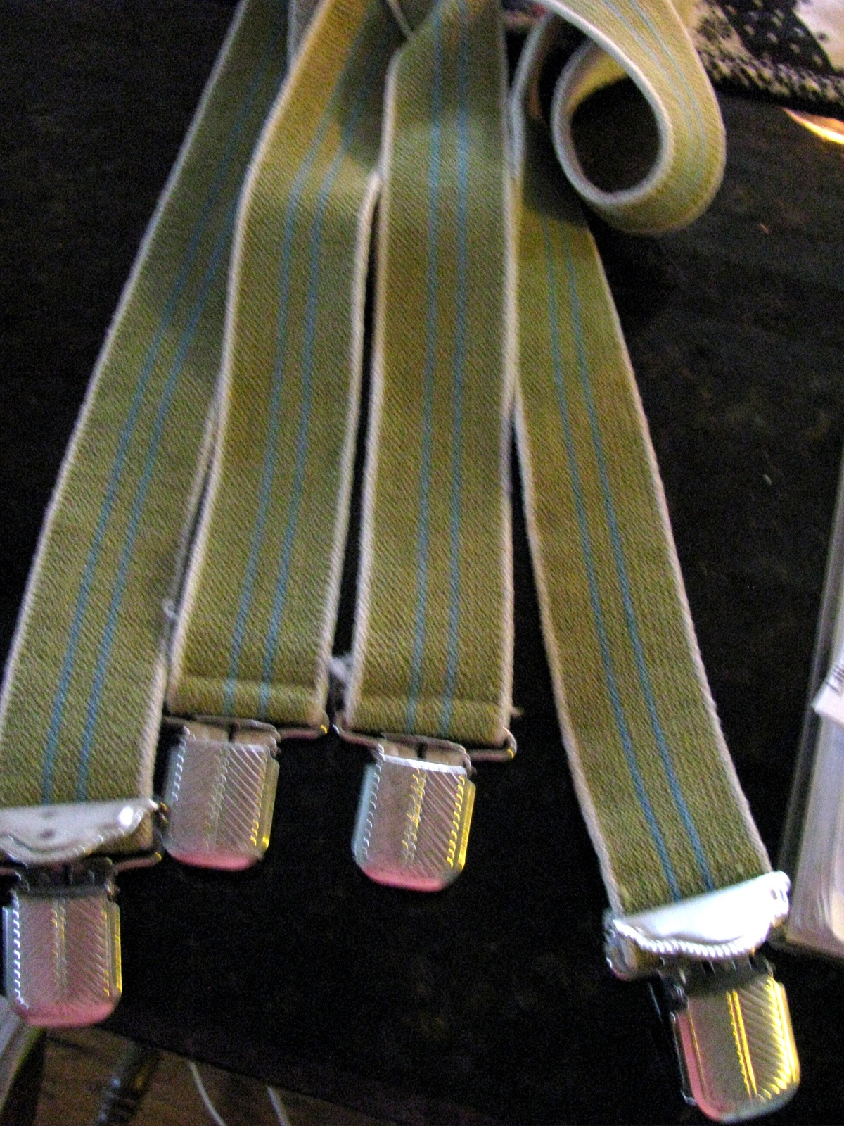 Vintage Sage Green, Blue, and Yellow Suspenders