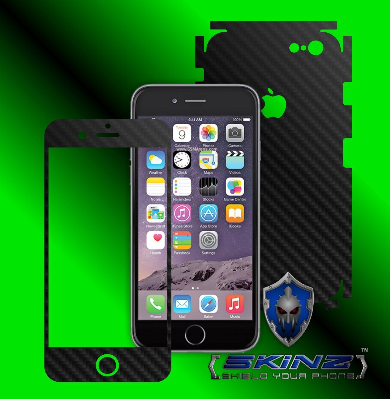 """Apple iPhone 6 / 6S 4.7"""" - Carbon Skin Wrap, Full Body Case Cover Protector"""