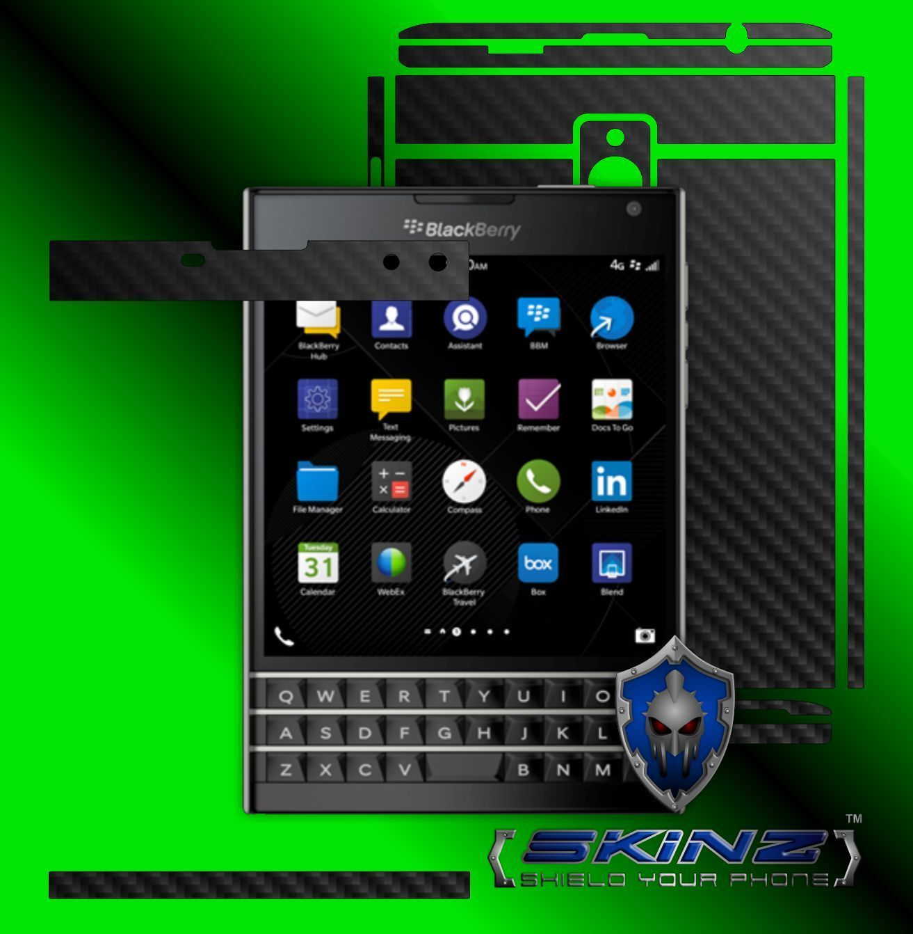 BlackBerry Passport - Full Body Carbon Skin,Decal Wrap,Case Cover Protector