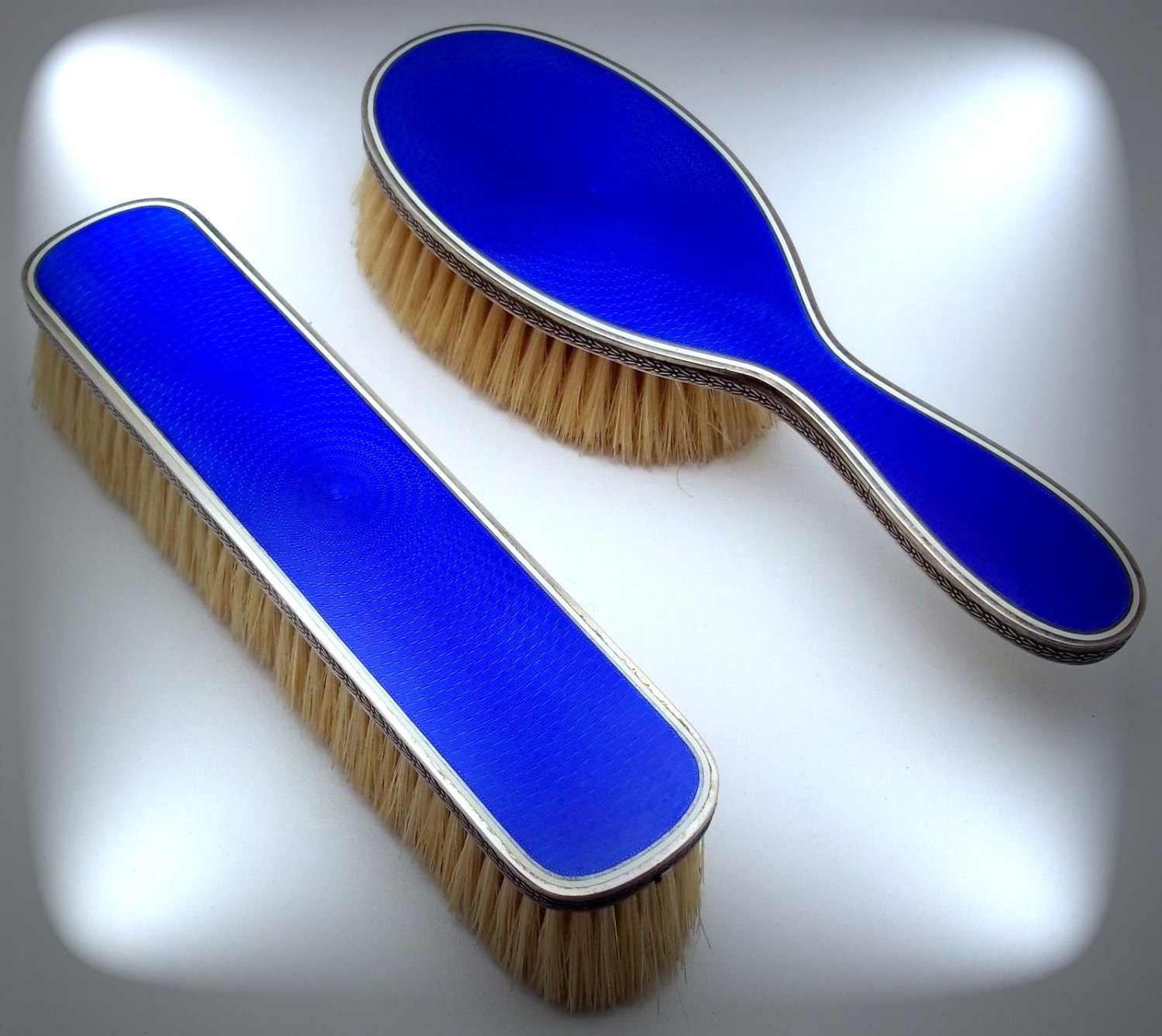 FRENCH Sterling 950 Silver / ROYAL Blue Guilloche Enamel Vanity Set