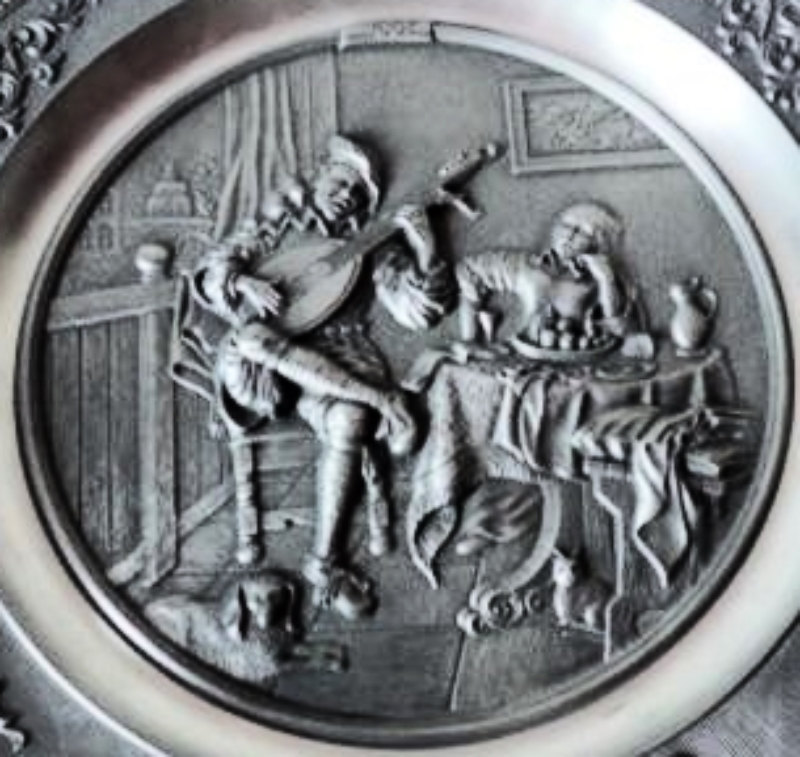 The Lute Player, Beautiful Antique Pewter Vide-poche Trinket Tray from Germany -