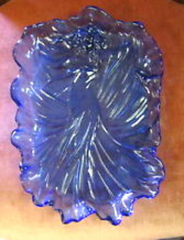 Cobalt Blue Art Nouveau Vide poche / Card Tray in Glass