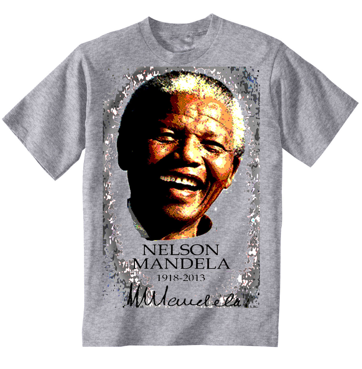 NELSON MANDELA 1918-2013  - NEW GRAPHIC GREY TSHIRT- S-M-L-XL-XXL
