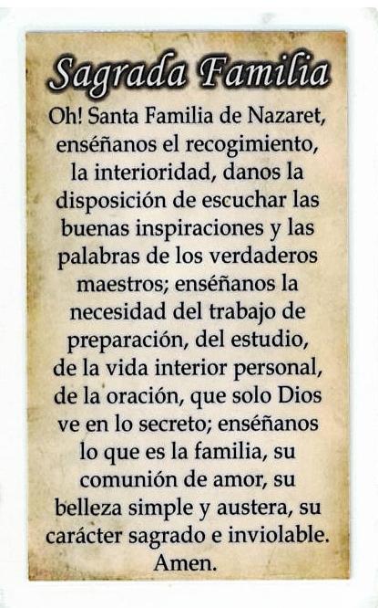 Laminated Prayer Card - Sagrada Familia - L300.0076