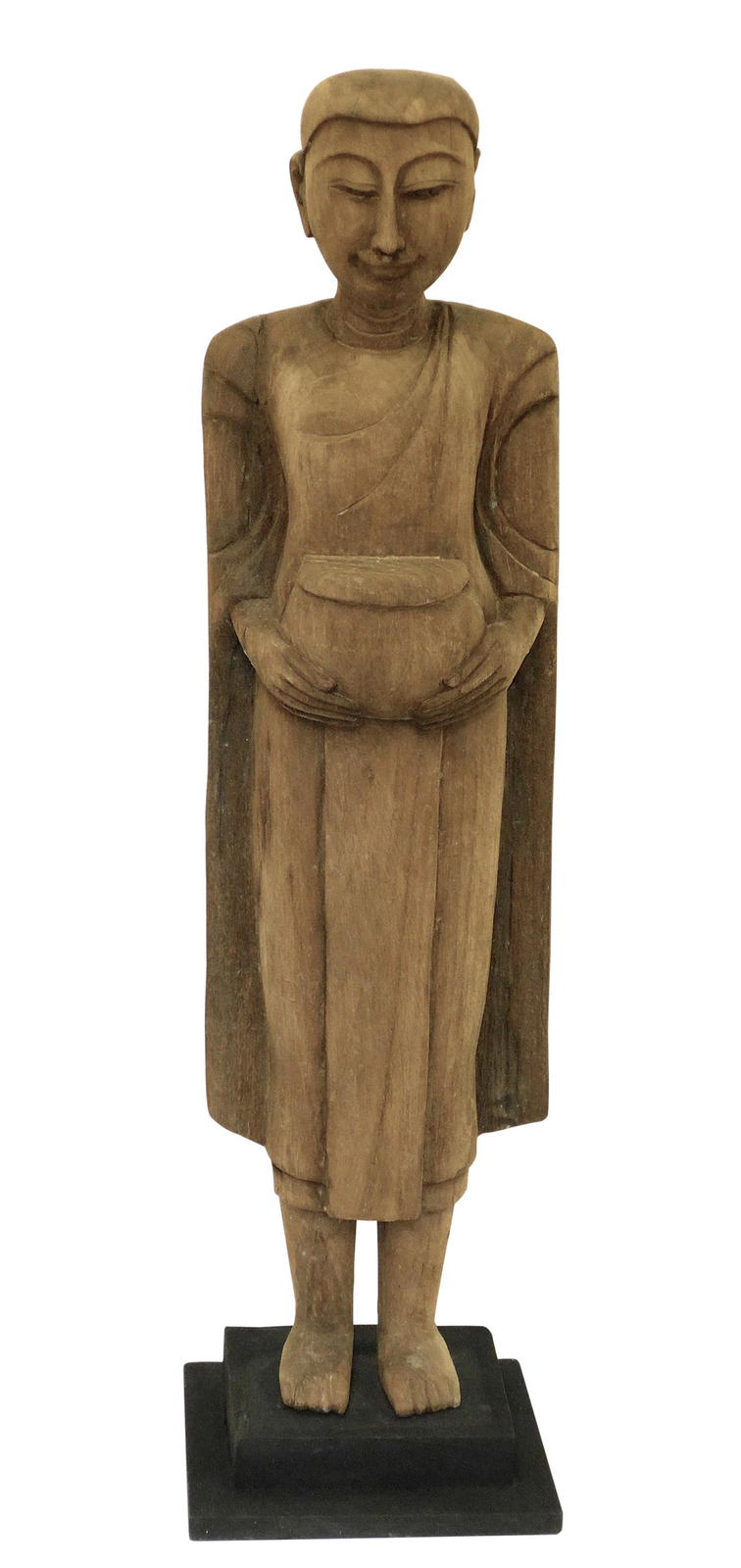 Fabulous Thai Carved Wood Monk,26'' Tall.