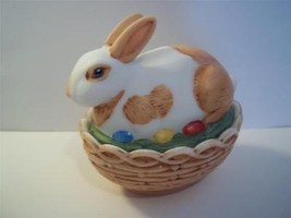 Mosser Glass Natural Hp Brown & White Easter Bunny Rabbit Box Basket Candy Dish! - $38.75