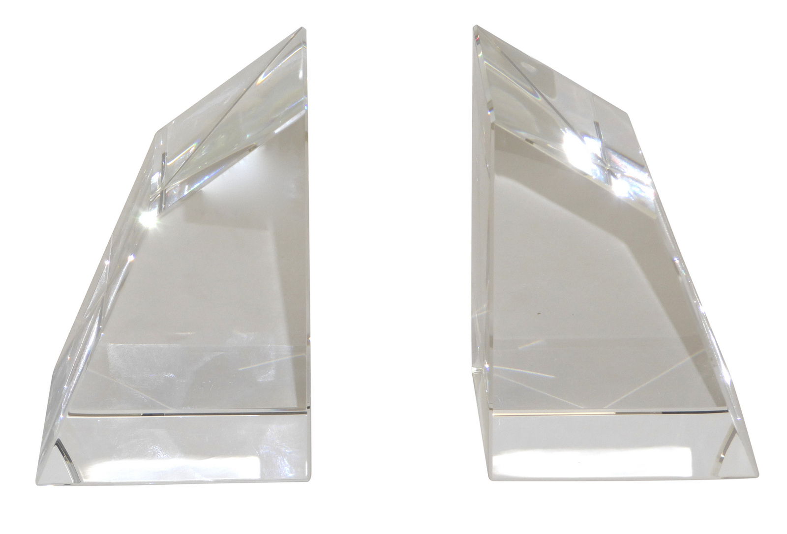 Modern Pair of Crystal Bookends,4''tall.