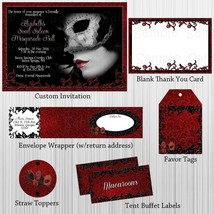 Masquerade Red, Black, Birthday, Baby Shower Party Package with Invitation - $28.00