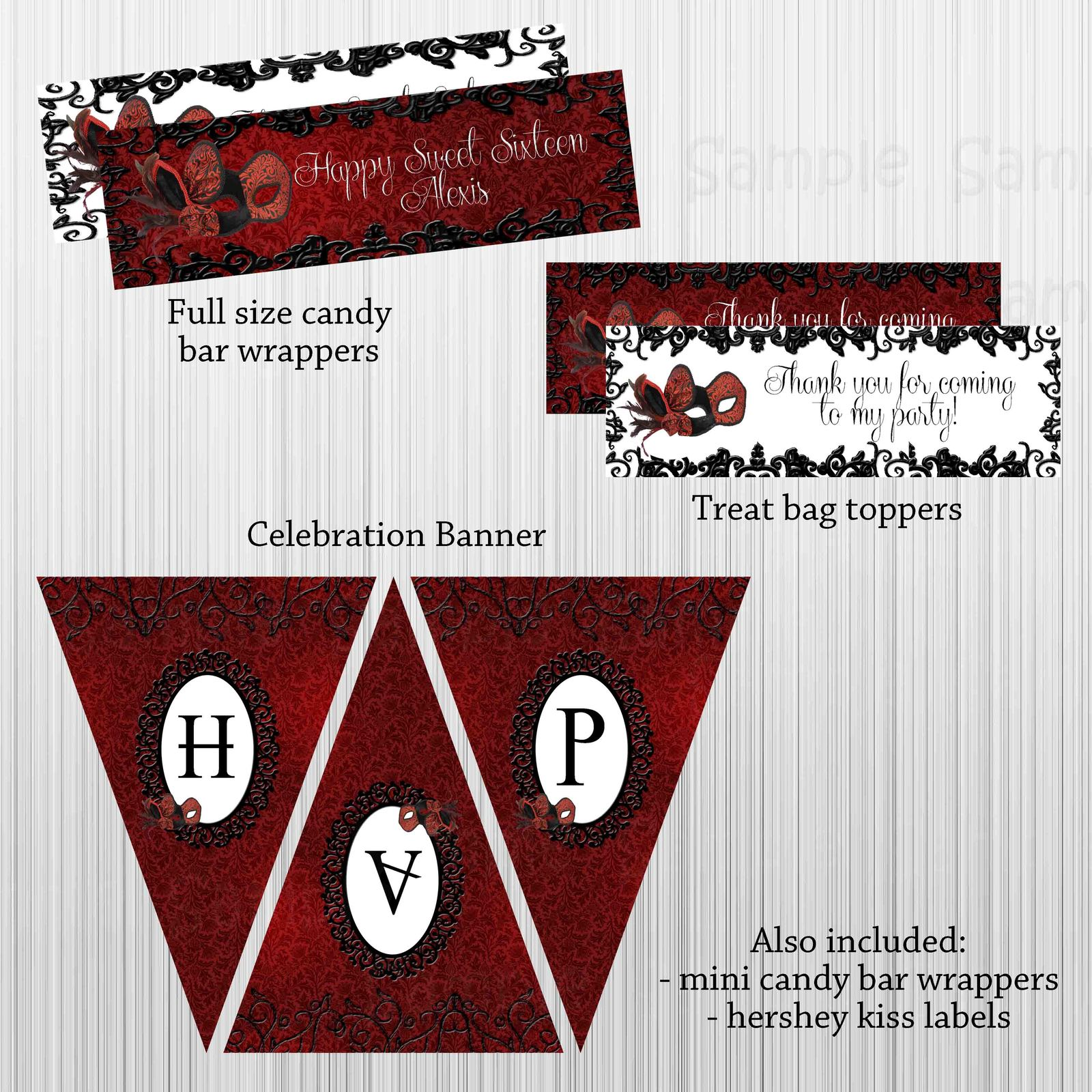 Masquerade Red, Black, Birthday, Baby Shower Party Package with Invitation