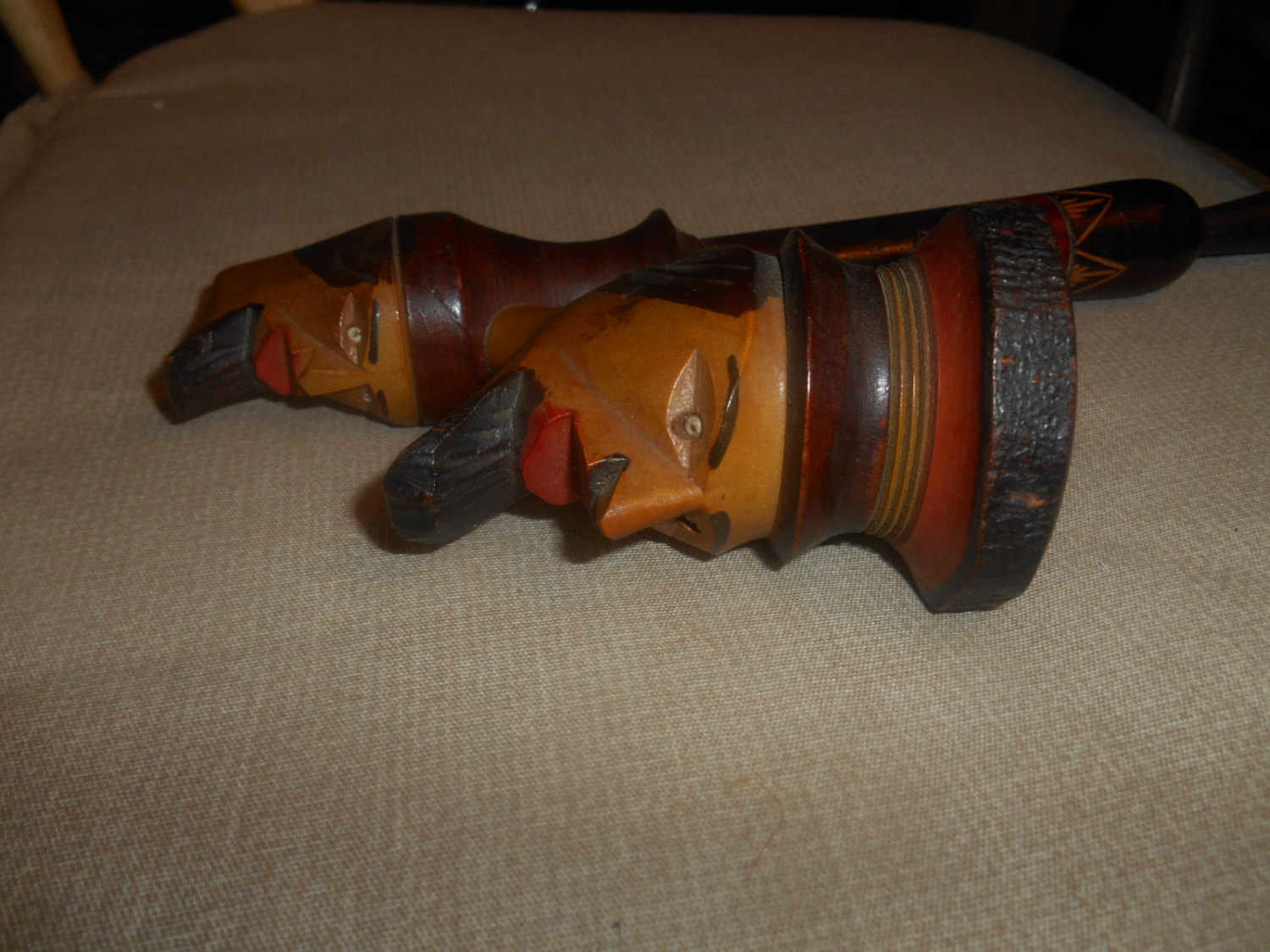 vgt folk art wooden hand carved double headed pipe