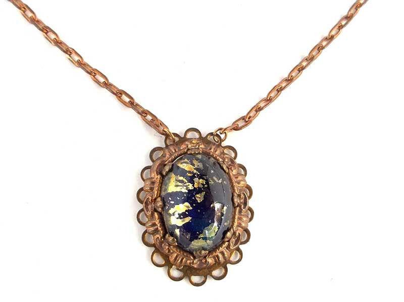 Vintage Glass Blue Fire Opal harlequin Gold Fleck Cabochon Pendant Necklace