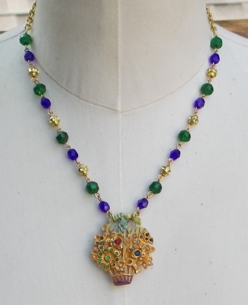 Vintage Floral Flower Basket Bouquet Buckle Necklace Rhinestone Blue Green Beads