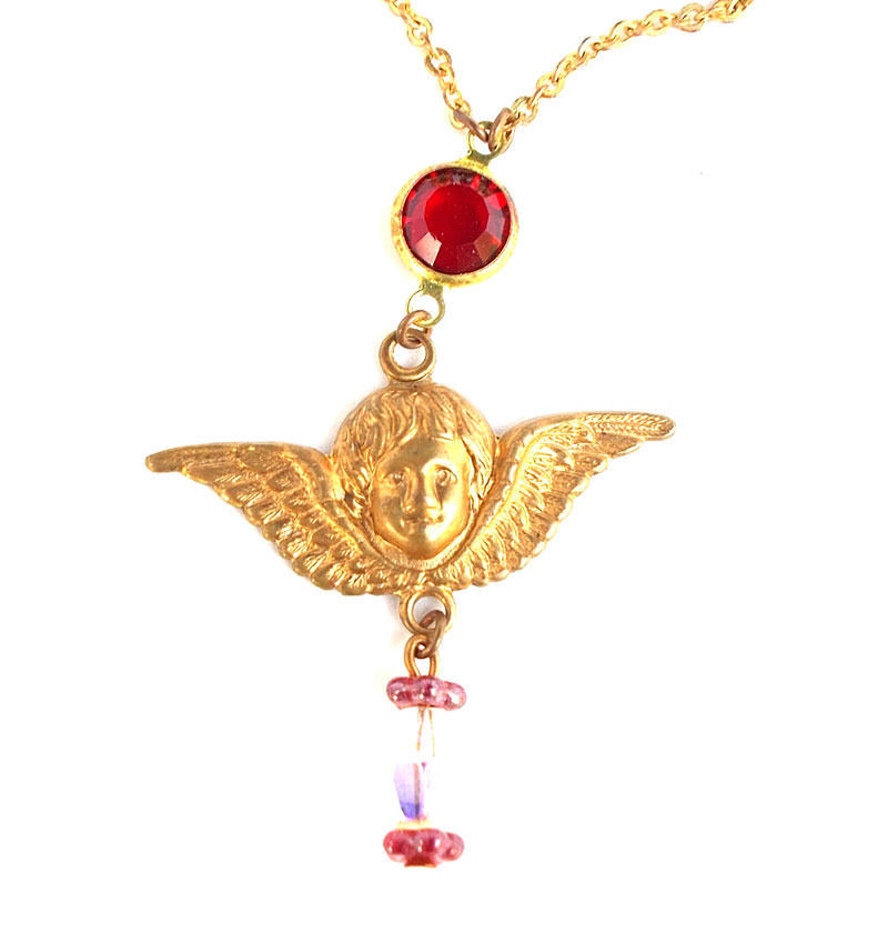 Vintage Brass Winged Angel Necklace Ruby Red Crystal Drop Gift for Her