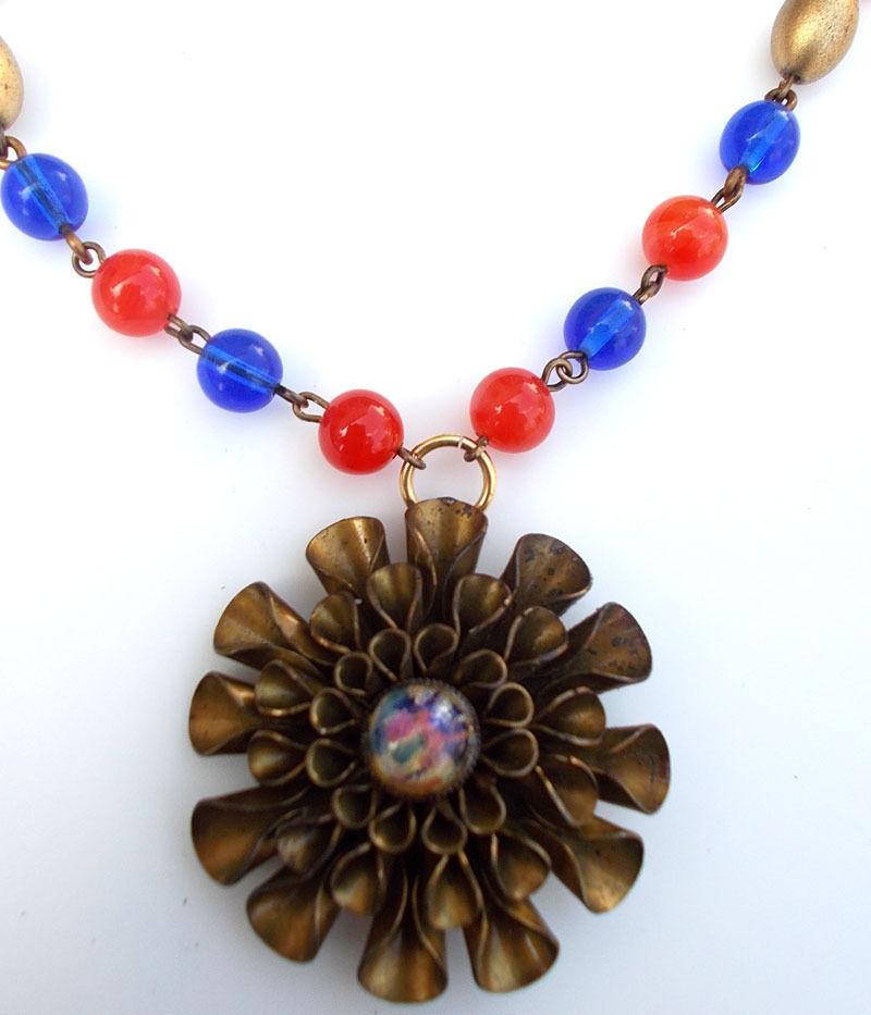 Vintage Fire Opal Harlequin Glass Repurposed Buckle Necklace Cobalt Blue Orange