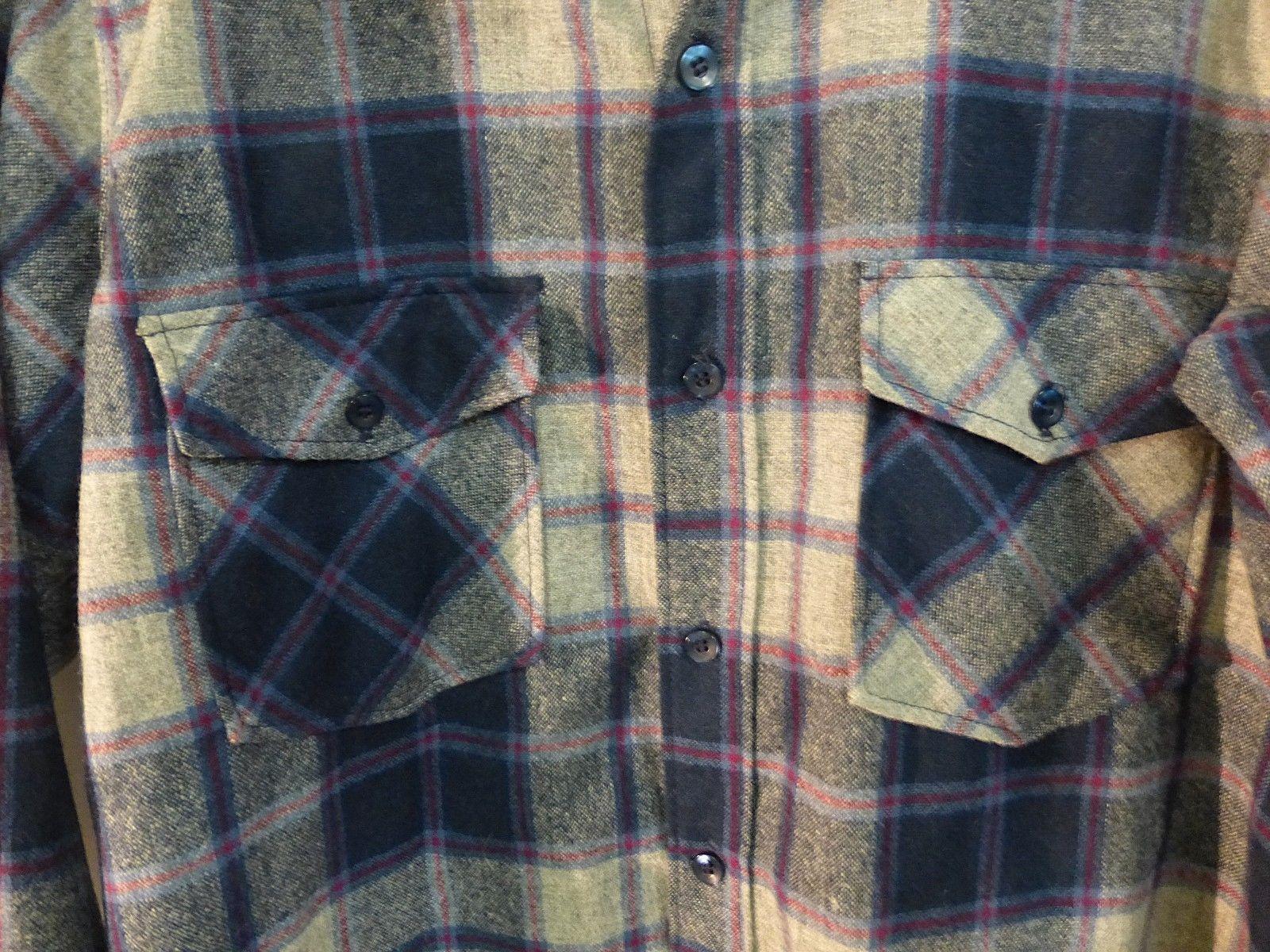 mens long shirtwoolrich vintage L/Large gray/blue plaid