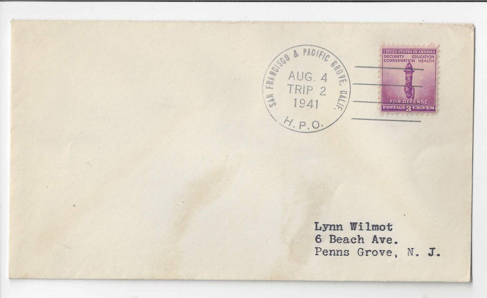 1941 San Francisco & Pacific Grove CA HPO Trip 2 Highway Post Office Cover