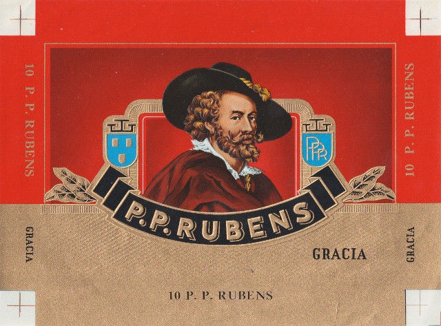 2 Cigar Box Labels P.P. Rubens Embossed Red Gold Blue Gold Backgrounds Vintage