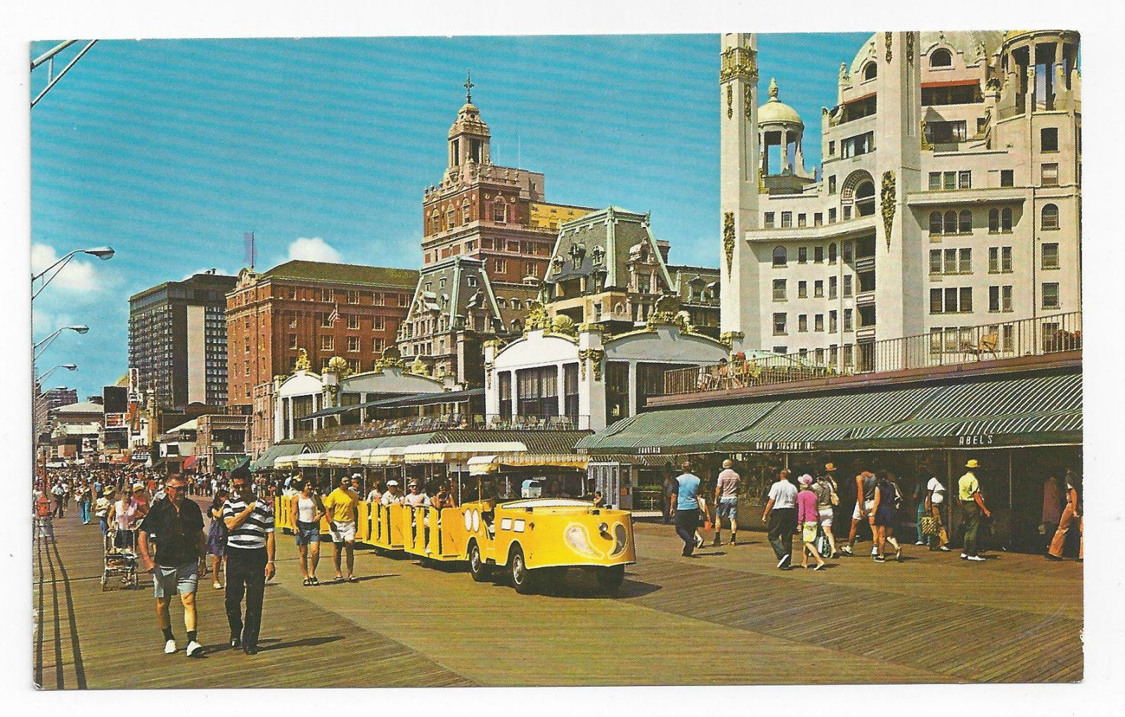 Atlantic City NJ Tram Cars Boardwalk Hotels Vintage Freeman Postcard