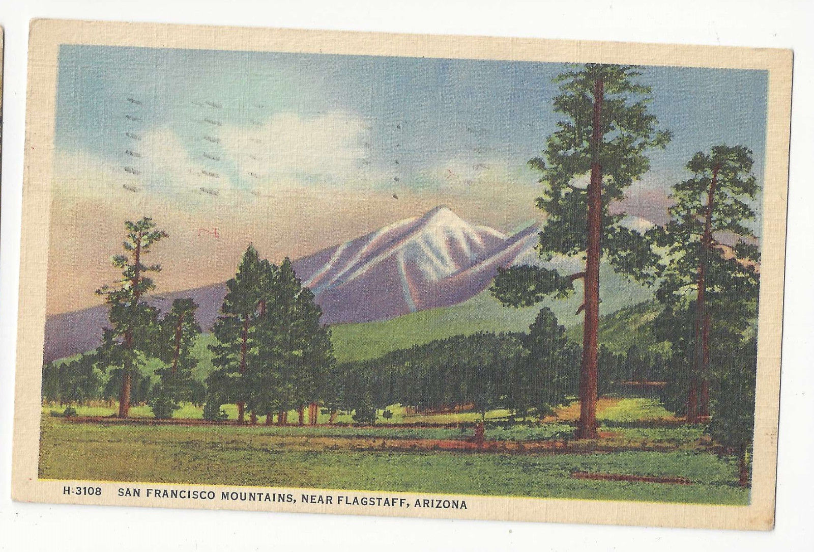 AZ Flagstaff San Francisco Mountains Vtg Fred Harvey Linen Postcard
