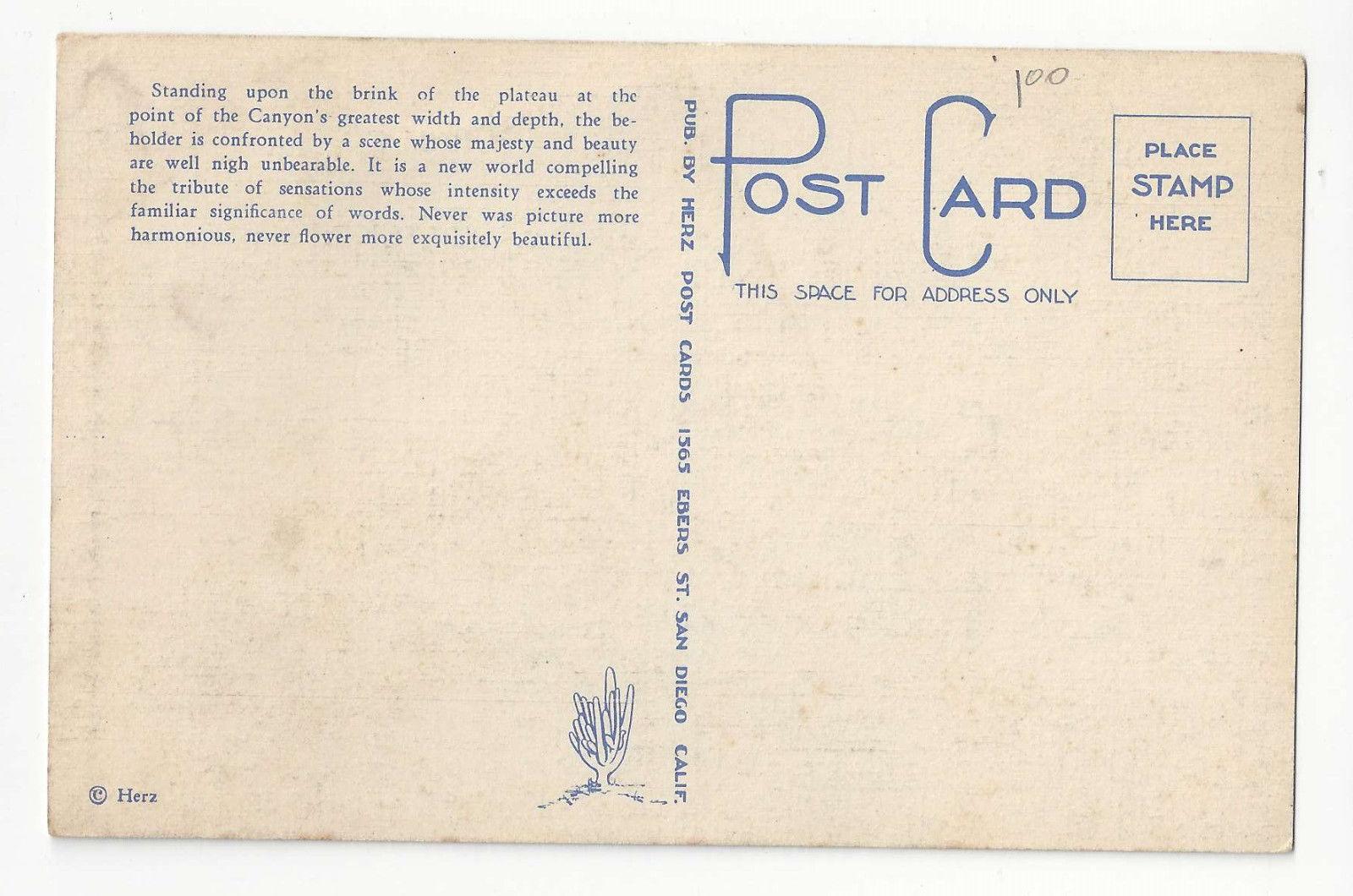 AZ Grand Canyon National Park East from Hopi Point Vtg Herz Linen Postcard