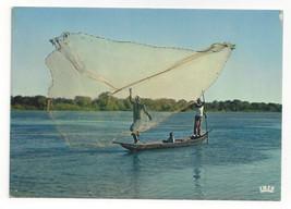 Africa Fishing Scene Fishermen with Net Vtg IRIS Africa in Color Postcar... - $6.64